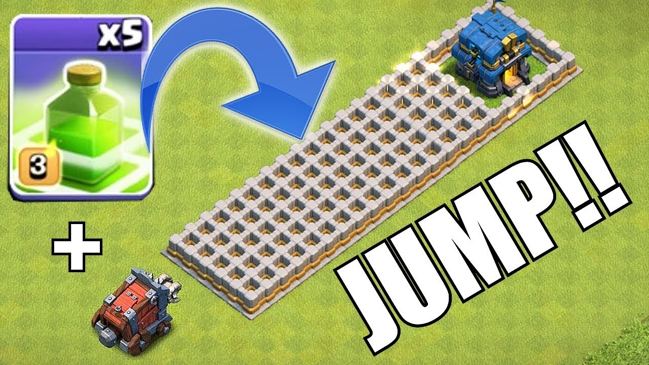 "JUMP OR DIE WRECKER!! ""Clash Of Clans"" Wall wrecker & jump spells!"