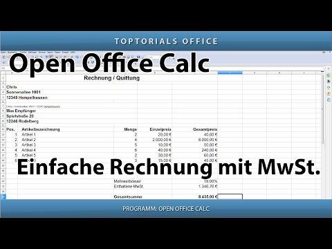 Rechnung Erstellen Mit Mehrwertsteuer Mwst Openoffice Calc