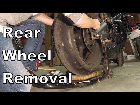 Motorcycle Rear Wheel Removal and Install - Triumph Daytona