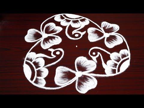 Friday flower kolam designs - birds rangoli designs with 7 dots - simple and easy muggulu