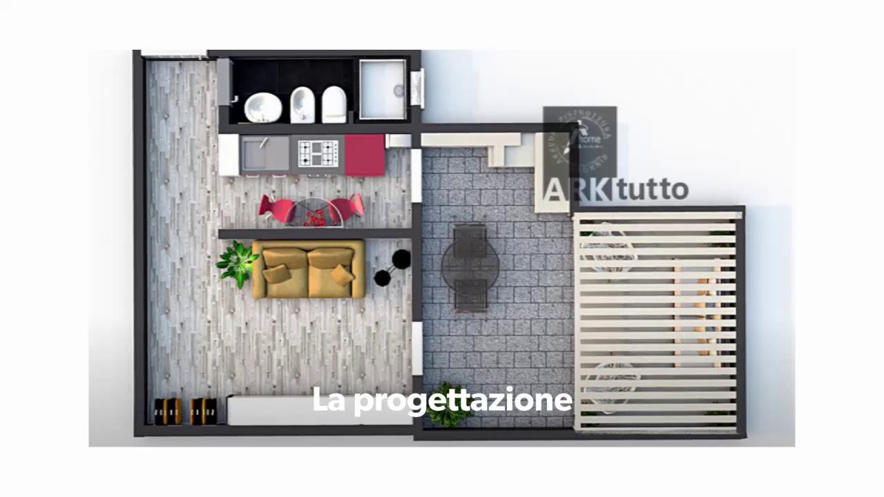 Progettazione open space di 30 mq ristrutturato e arredato for Soluzioni arredo monolocale