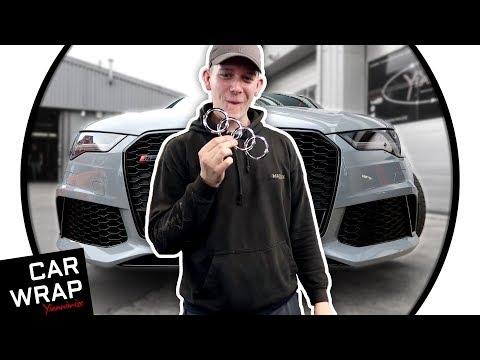 Nardo Grey Audi RS6 part wrapped Chromes to Gloss Black