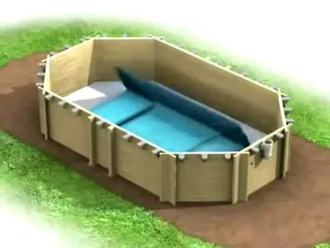 Pose liner piscine bois cerland youtube for Liner piscine bois hexagonale