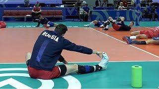 Волейбол. Разминка перед матчем. Сборная России