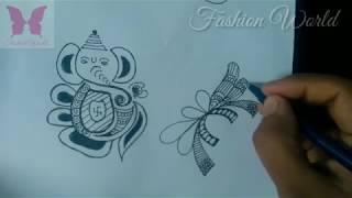 Learn indian bridal henna / Mehndi kalash & God design for beginners tutorial - Practice 19