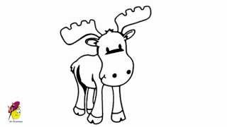 Moose - how to draw a Moose - Easy Drawing for Kids