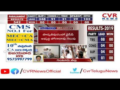 గుంటూరు జిల్లాలో జగన్ ప్రభంజనం : YCP Lead in Guntur Dist : AP Election Results 2019 | CVR News