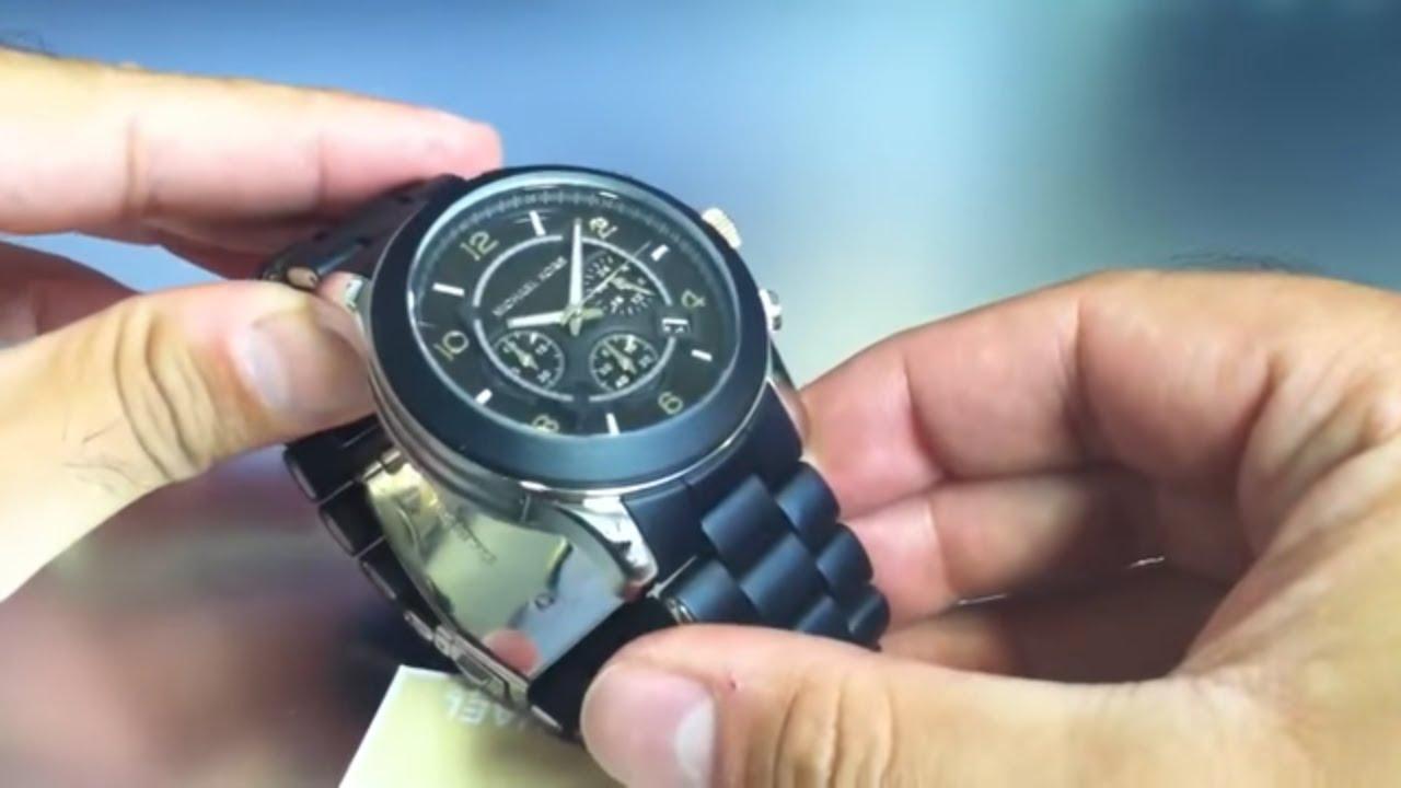 1feb158a7fe Men s Michael Kors Black Chronograph Watch MK8107 - YouTube