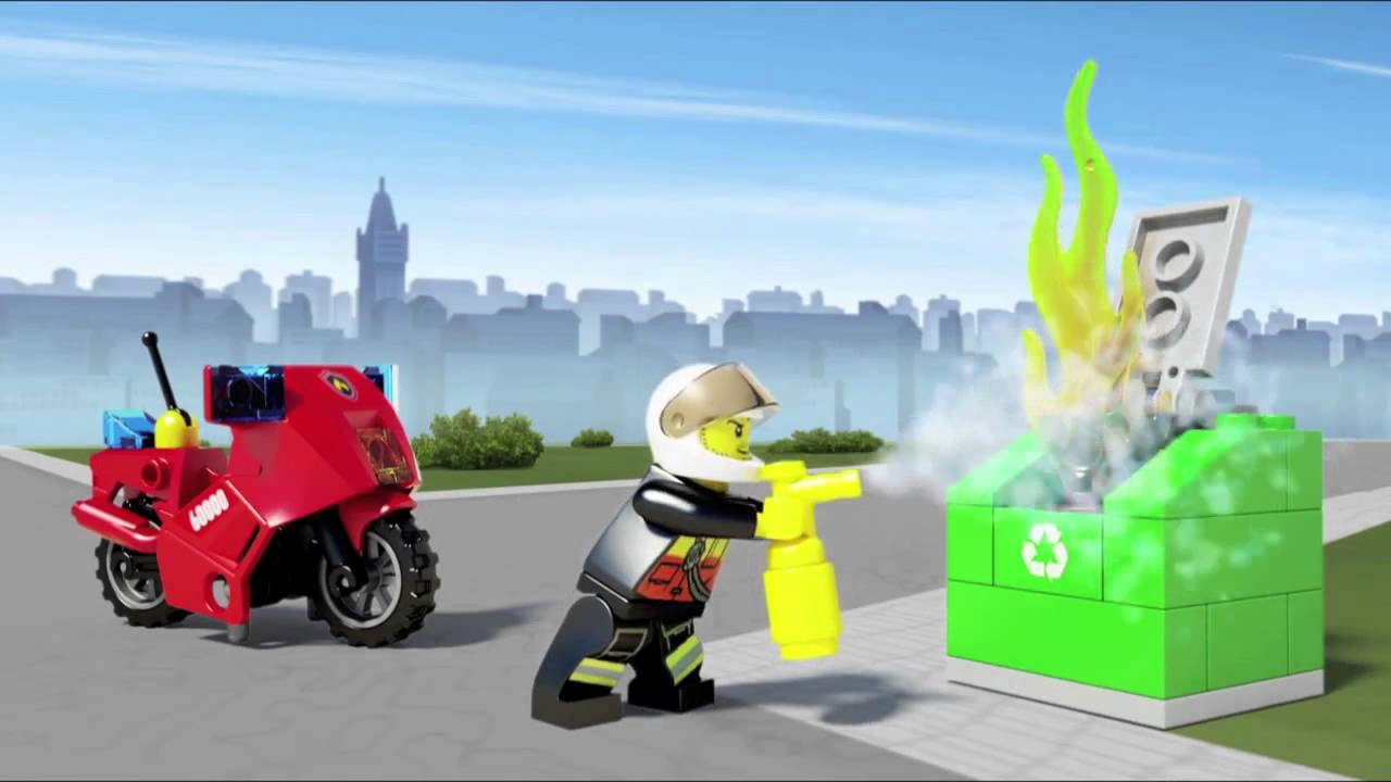 60000 lego city moto de bombeiros youtube
