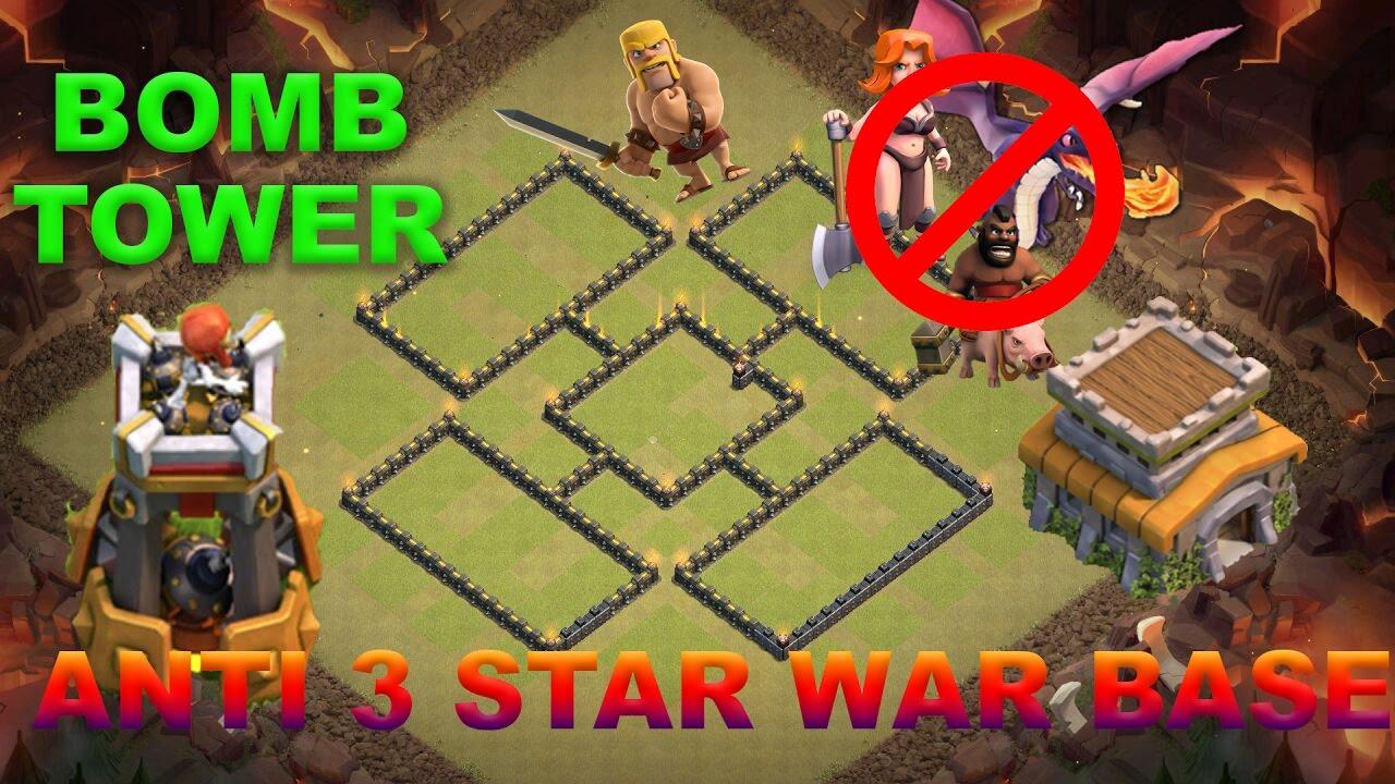 TH8 Anti 3 Star War Base w/ BOMB TOWER| Anti Dragon/Valk ...