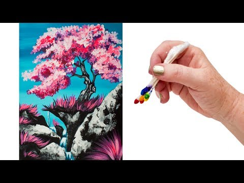 How to paint a Simple Cherry Tree Waterfall using Q-Tips The ART SHERPA 🌸🍒