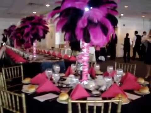 Fuchsia amp Black Centerpieces With French Ribbons Zebra