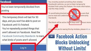 Solved Facebook Action Blocked Unblocking Without Limits | Unblocking All Features Facebook (Update)