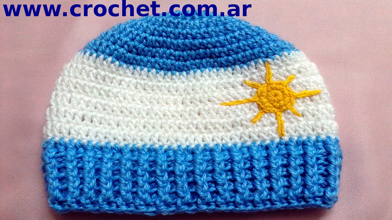 4b752f5cb GORRO Argentino a  crochet o ganchillo para niños (tutorial paso a paso).  Moda a Crochet - YouTube