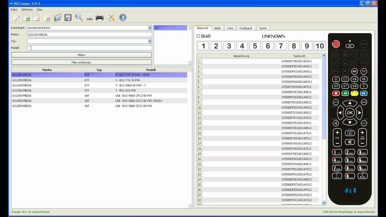 Programmieren der Summit 4:1 Fernbedienung über die PC ...