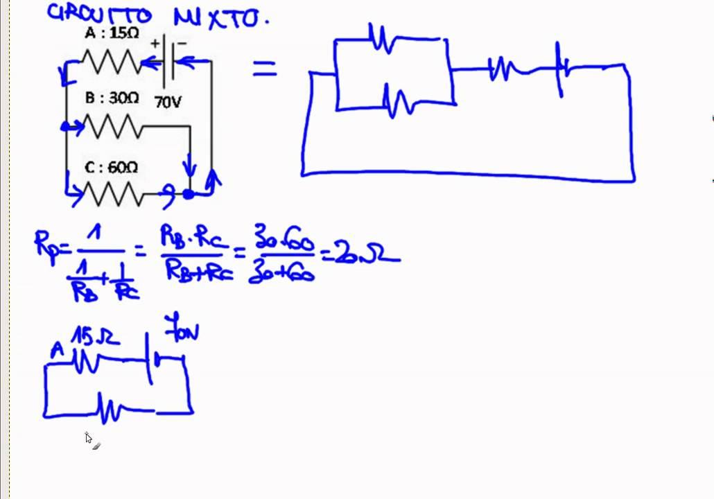 Circuito Mixto : Electricidad ejercicio resuelto circuito mixto youtube