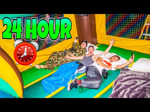 24 HOUR OVERNIGHT IN A BOUNCE HOUSE!!!