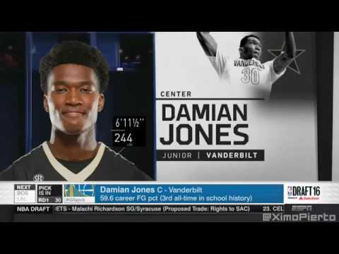 Golden State Warriors Draft Vanderbilt Center Damian Jones! - 2016 NBA Draft Pick #30