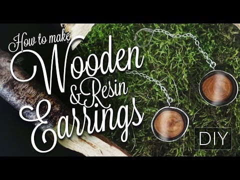 How to make wooden +  resin + silver earrings