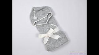 Вязанный конверт плед с кисточкой, серый