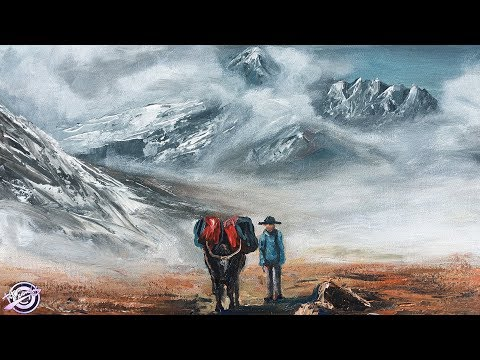 Acrylic Landscape Painting | Painting Demo | Mountain Painting | Yak Painting | Art Candy