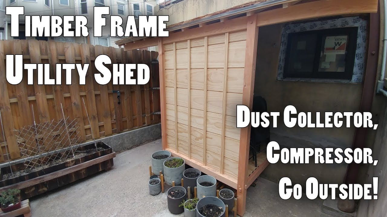 Timber Frame, Japanese Style Utility Shed for Compressor and Dust Collector