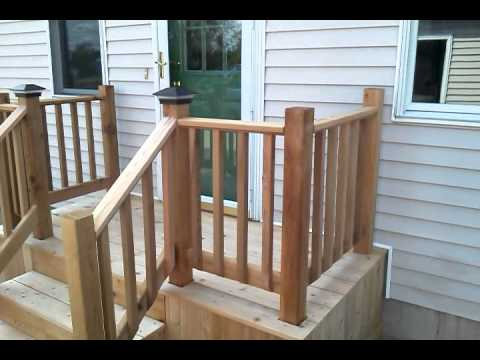 Cedar deck with steps concrete replacement youtube for Building a front porch deck