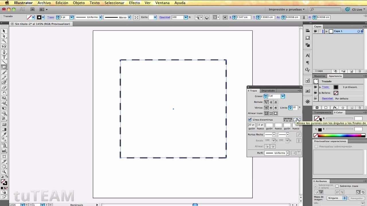 Illustrator CS5 Tip - Crear lineas punteadas - tuTEAM - YouTube