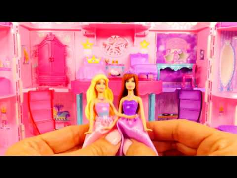 Barbie Musical Light Up Castle Disney Frozen Elsa and Princess Anna Barbie Girl Doll Popstar Playse