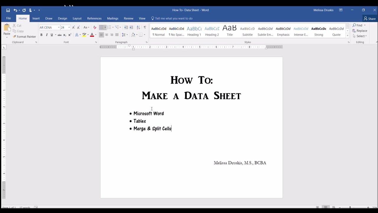 ABA Data Sheet: Part 1