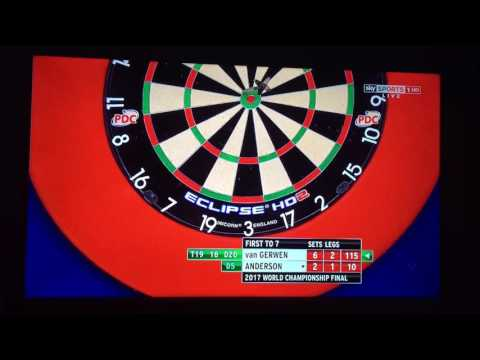 Man invades stage during Gary Anderson vs Michael van Gerwen (2017 Darts World Championship Final)