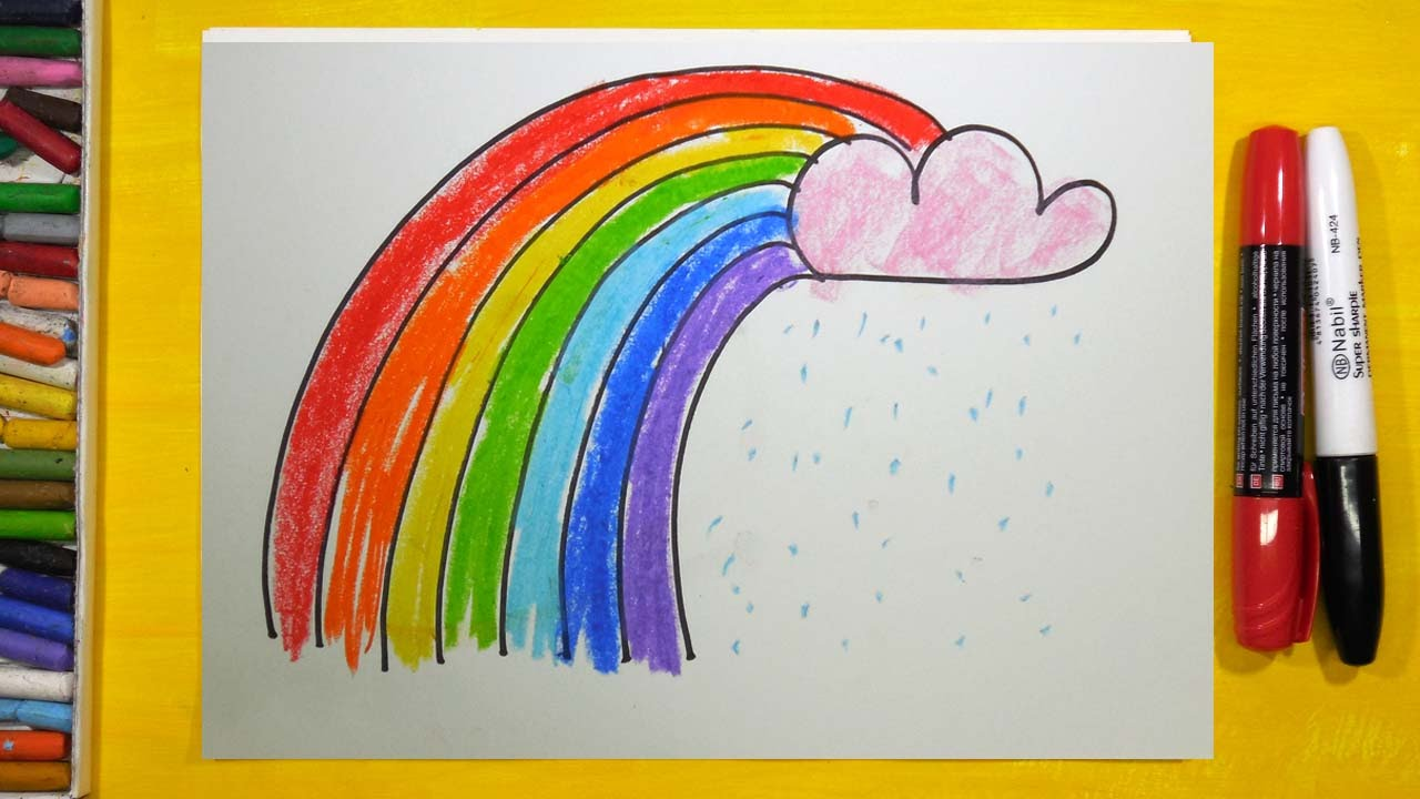 как нарисовать радугу урок рисования для детей от 3 лет раскраска для детей