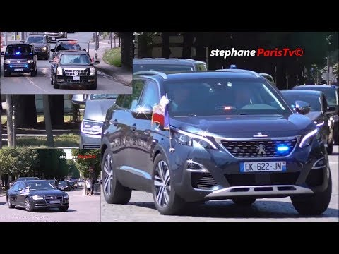 Trump Vs Macron Vs Netanyahu convoy  in Paris