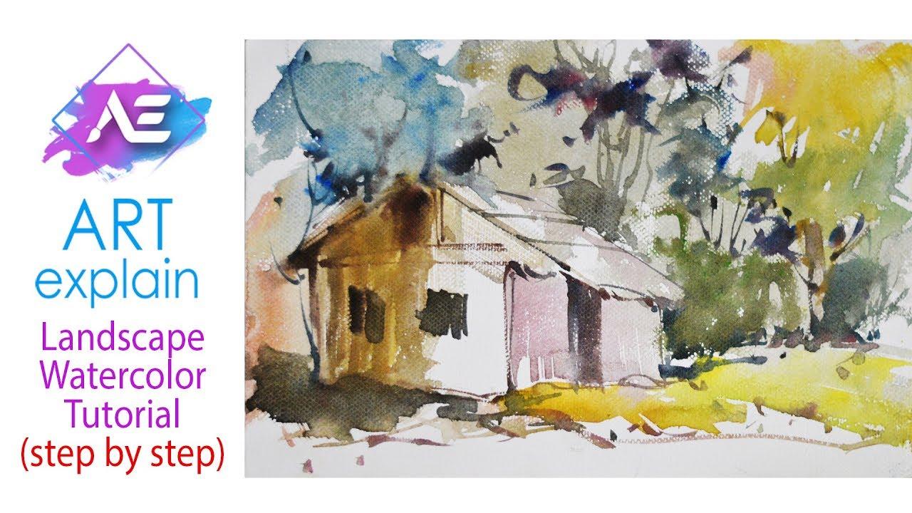Game with watercolor - Village Watercolor Painting Landscape Tutorial How To Paint A Watercolor Landscape Art Explain
