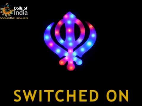 Acrylic Khanda Sikh Symbol Lamp With Dancing Lights Wall Hanging
