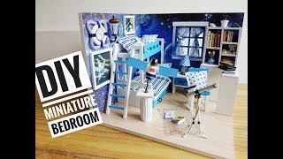 """DIY Miniature Bedroom Kit #4 """"Dreaming of Space"""" with a Satellite and Telescope ("""