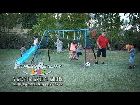 8452 Fitness Reality Kids 7 Station Sports Series Metal Swing Set With Basketball And Soccer