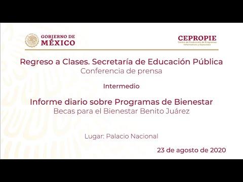 Regreso a clases, SEP. Informe diario sobre Programas de Bienestar. Domingo 23 de agosto, 2020
