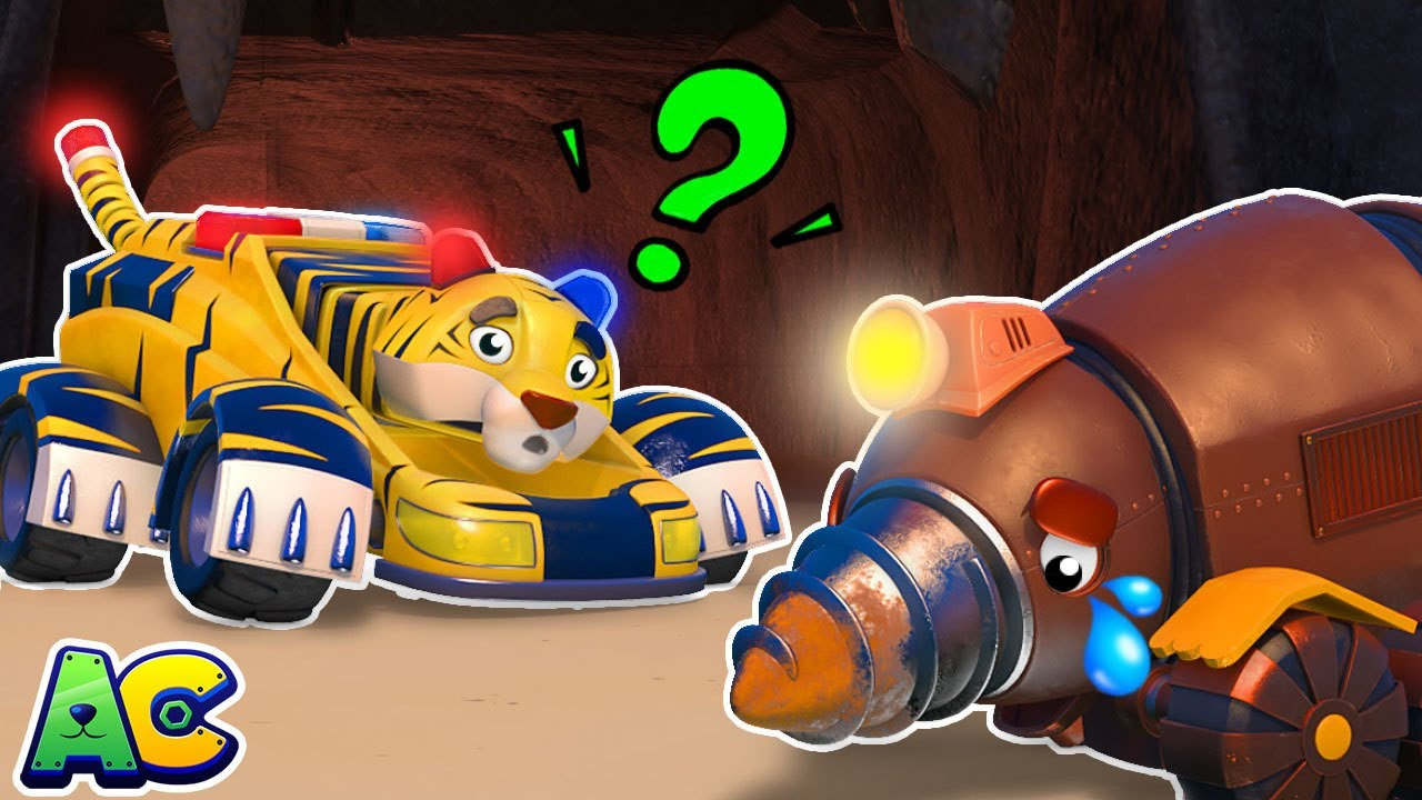 TIGER POLICE CAR and Mole MINING TRUCK save lost people | Spooky Ghost | AnimaCars | Kids Cartoon