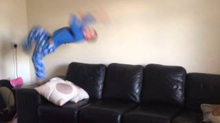 5 year old kid backflips off sofa (DO NOT TRY AT HOME)
