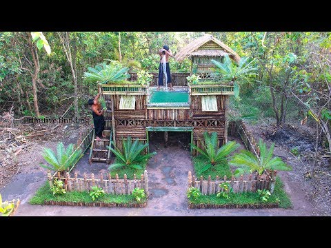 Full Video : Build Double-Story Wooden villa & Swimming Pool on  Villa House Unbelievable!