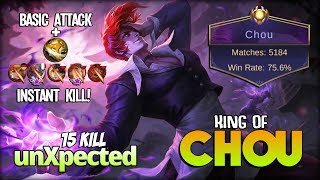 Chou Perfect Damage 5.1k Match is Real! unXpected King of Chou ~ Mobile Legends
