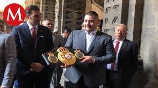 Andy Ruiz visita Palacio Nacional en reunión con AMLO