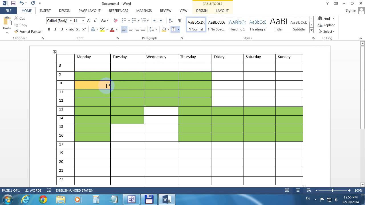 Background Color Table Microsoft Word