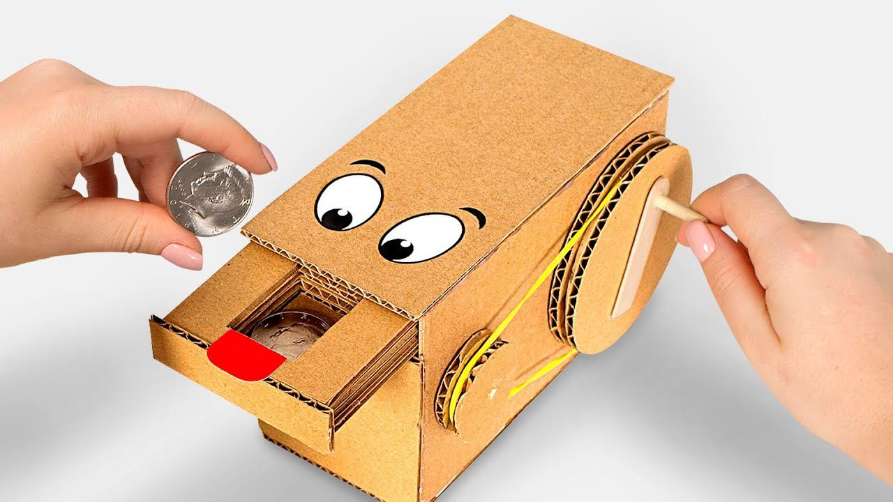 wow amazing diy personal coin saving bank from cardboard youtube