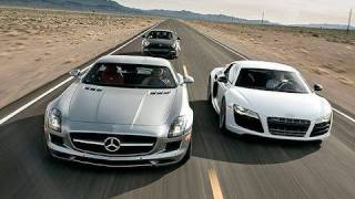 German Supercar Shootout! SLS AMG vs R8 V10 vs 911 Turbo