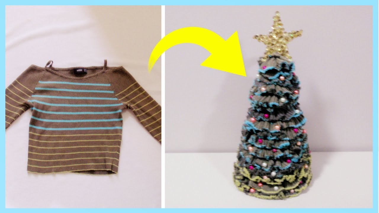 DIY Fabric Christmas Tree From Old Sweater (Easy)