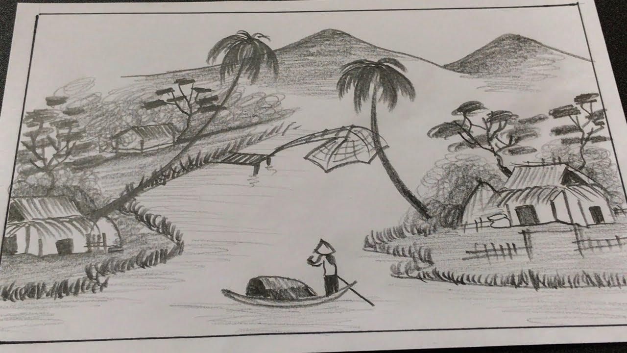 vẽ tranh phong cảnh bằng bút chì | how to draw landscape by pencil