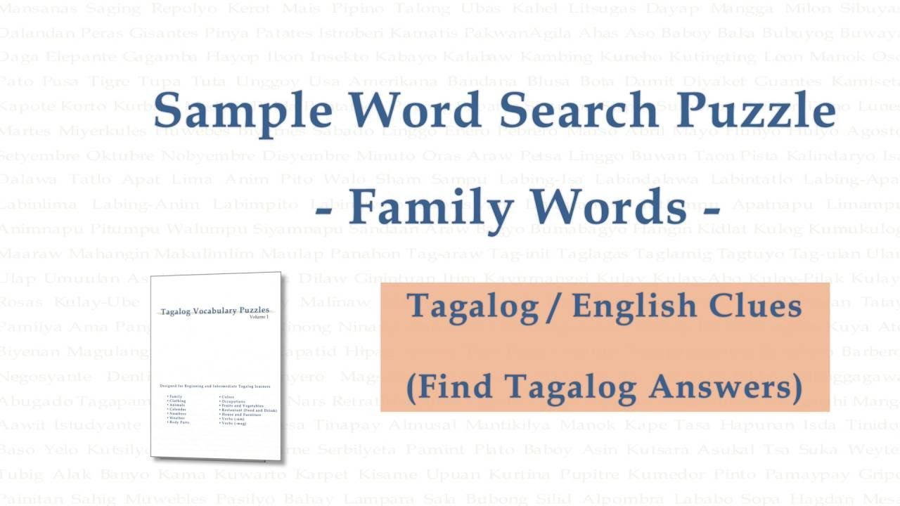 Sample Tagalog Word Search Puzzle