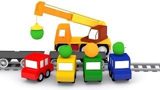 Lehrreicher Zeichentrickfilm - Die 4 kleinen Autos - Der Zug transportiert Obst
